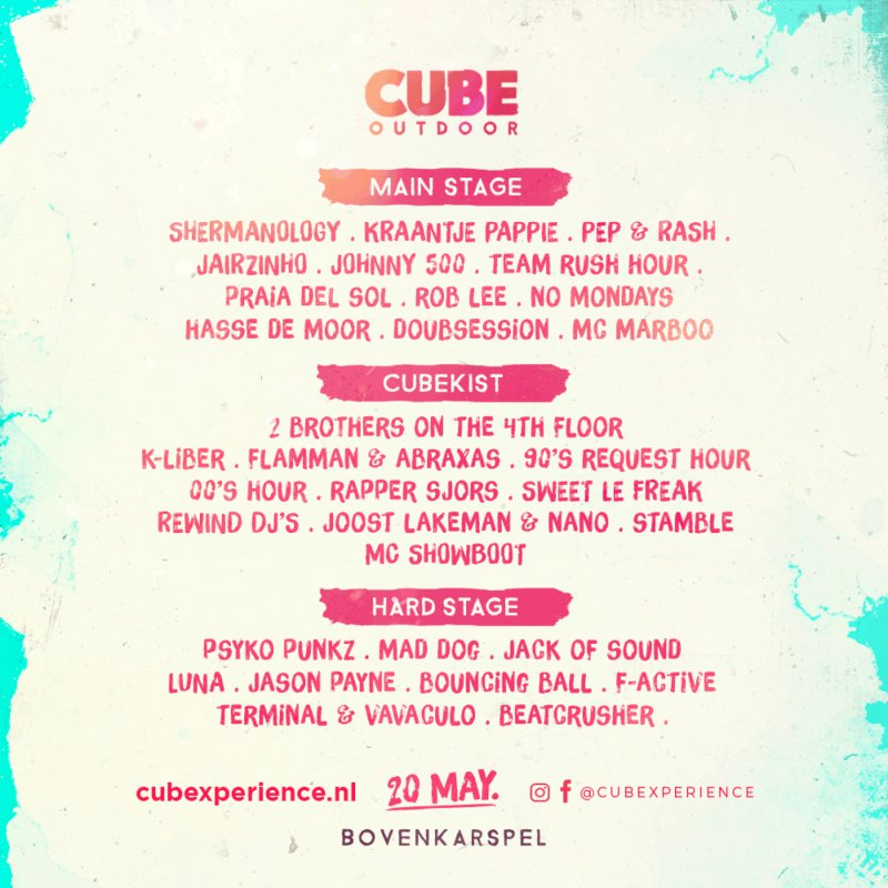 outdoor festival cube 20 mei kaartverkoop bij dirk de wit mode