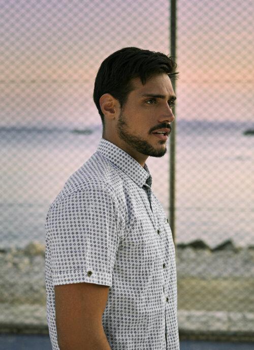 Man in No Excess korte mouwen overhemd met grafische print